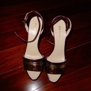 Prada Metallic Sandals, size 40